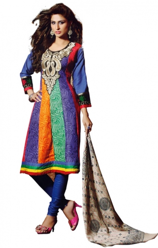 Multicolor Cotton Embroidered Salwar Suit With Chiffon Dupatta