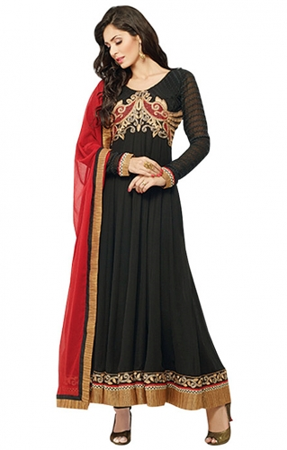 Black Embroidered Faux Georgette Stitched Floor Length Anarkalis Salwa