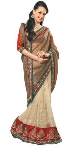 Beige And Brown Georgette Embroidered Netted Designer Saree With Blouse