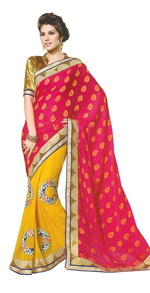 Yellow Embroidered Faux Georgette Saree With Blouse Piece