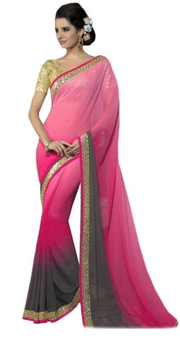 Pink And Grey Kutch Mirrorwork Saree