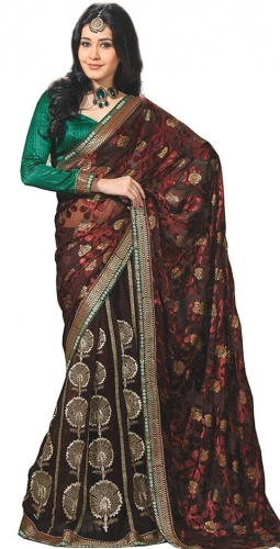 Maroon And Red Georgette Designer Saree With Blouse