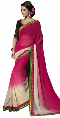 Rose Pinkand Cream Kutch Mirrorwork Saree