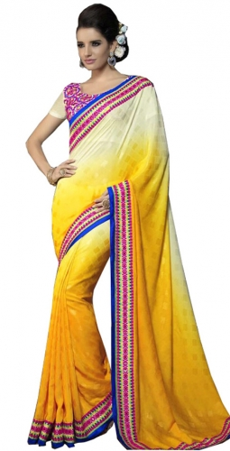 Yellow And Cream Kutch Mirrorwork Saree