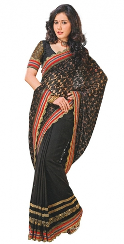 Black Georgette Designer Saree With Blouse