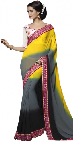 Yellow And Grey Kutch Mirrorwork Saree