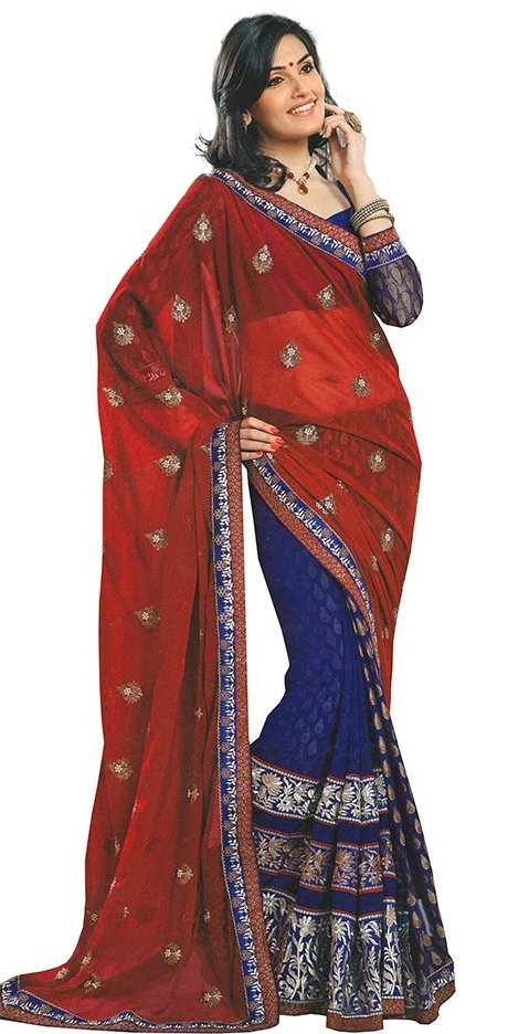 Blue And Red Georgette Embroidered Designer Saree With Blouse