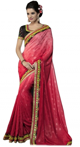 Red Kutch Mirrorwork Saree