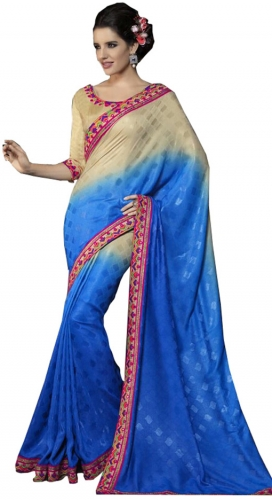 Beige And Blue Kutch Mirrorwork Saree
