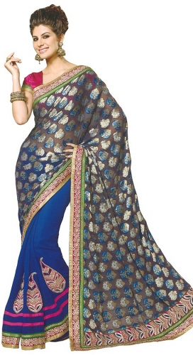 Blue Embroidered Faux Georgette Saree With Blouse Piece