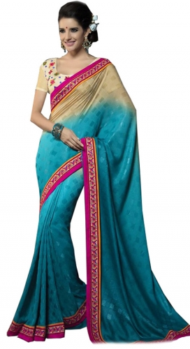 Blue And Beige Kutch Mirrorwork Saree