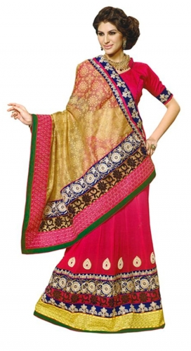 Pink Embroidered Faux Georgette Saree With Blouse Piece