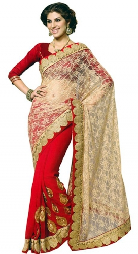 Red Embroidered Net Saree With Blouse Piece