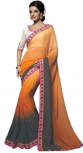 Orange And Gray Kutch Mirrorwork Saree