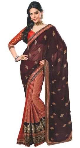 Red And Maroon Georgette Designer Saree With Blouse