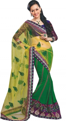 Green And Yellow Georgette Netted Designer Saree With Blouse