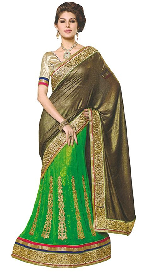 Green Embroidered Faux Georgette Saree With Blouse Piece