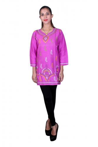 Rani pink kantha stitch kurta