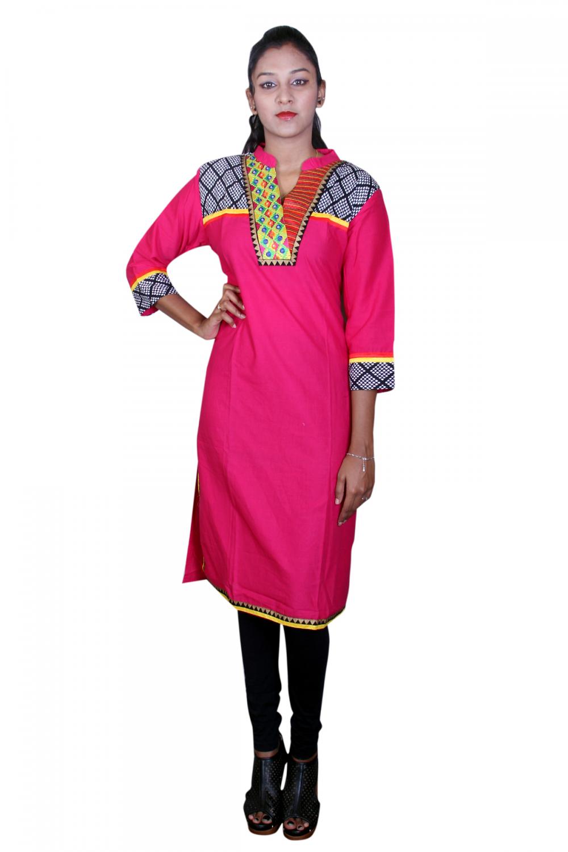 Pink n black designer kurta