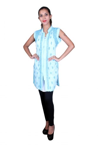 Sky blue chikan cotton kurta