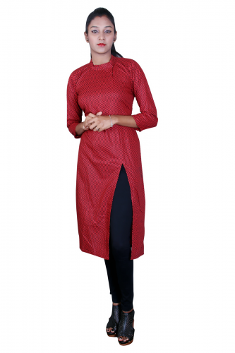Maroon cotton front slit kurta