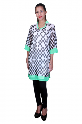 White black print georgette kurta