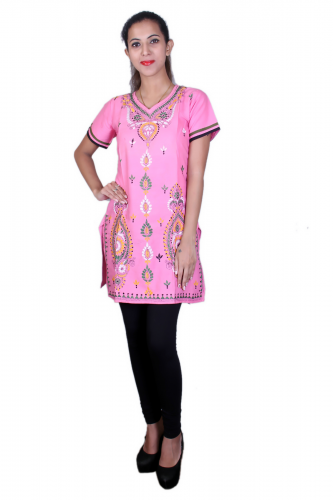 Pink cotton kantha work kurta