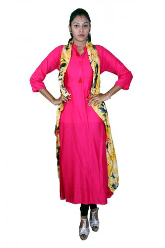 rani pink yellow print kurta