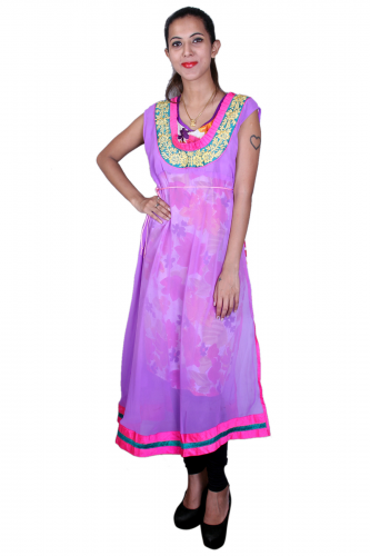 Pink n purple printed kurta