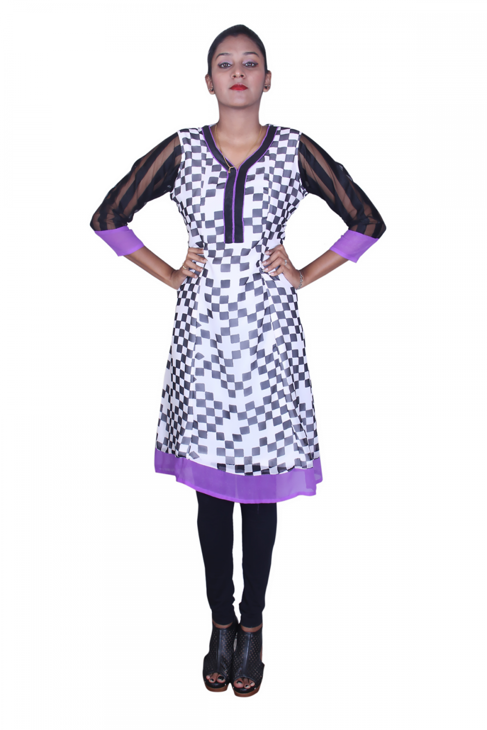 White black print georgette kurta with purple border