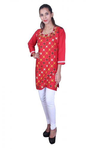Red cotton kantha work kurta