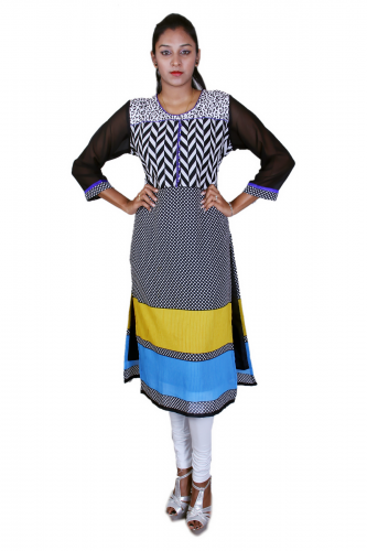 White n' black georgette kurta