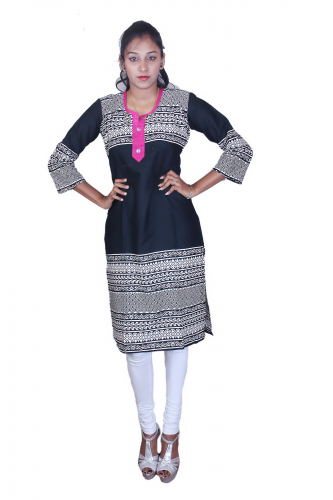 Black print cotton kurta