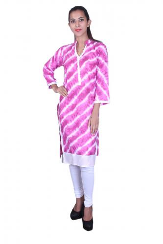 Pink n' white print kurta