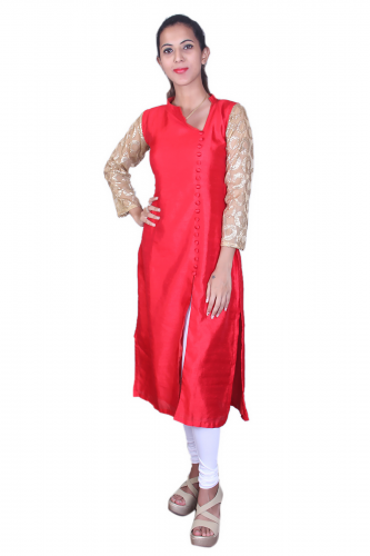 Red silk cotton kurta