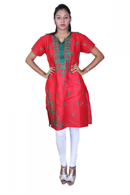 Red n' green chikan cotton kurta