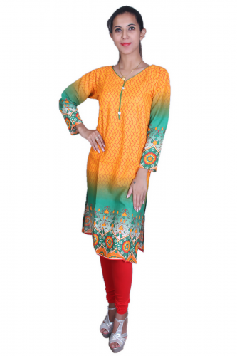 Yellow n' green print kurta