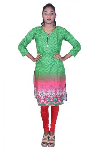 Green n' pink print kurta