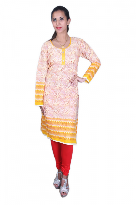 Yellow cotton printed kurta
