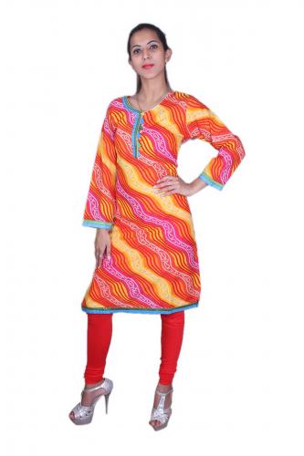 Multicolour lehariya kurta