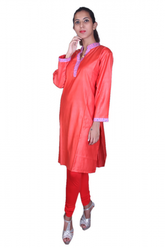 Tomato red cotton silk kurta