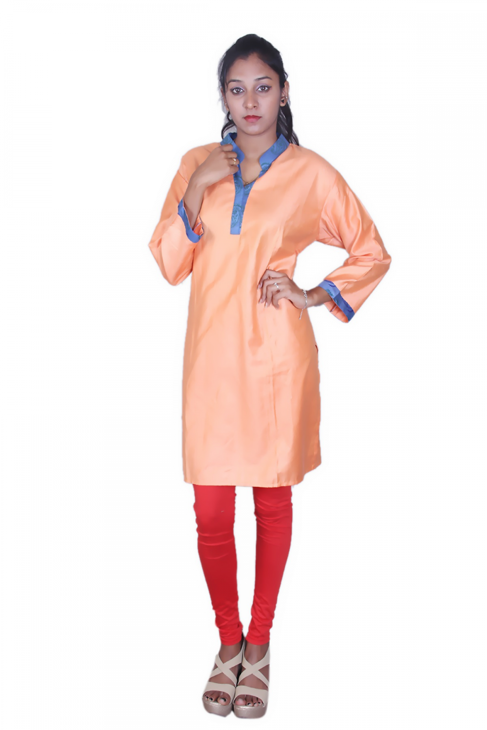 Peach orange cotton silk kurta