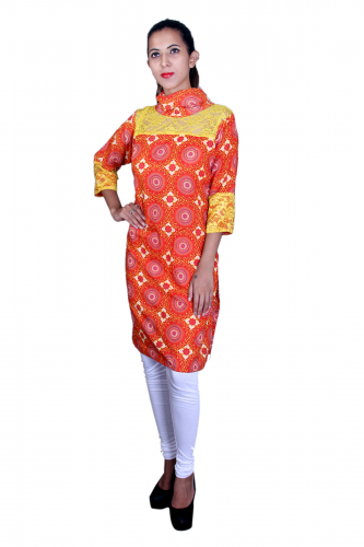 Orange n' yellow lace work cotton kurta