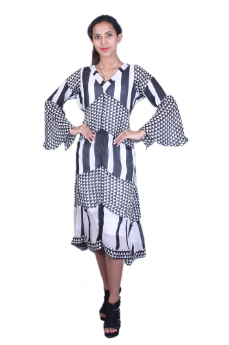 Black n white georgette dress