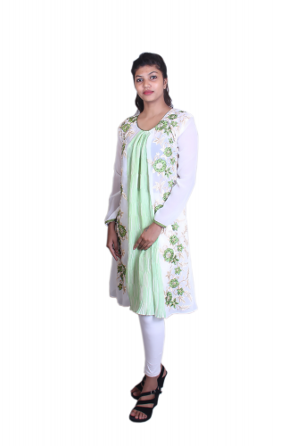 White n green embroidered kurta