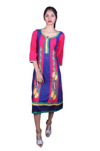 Pink n blue multicolor kurta