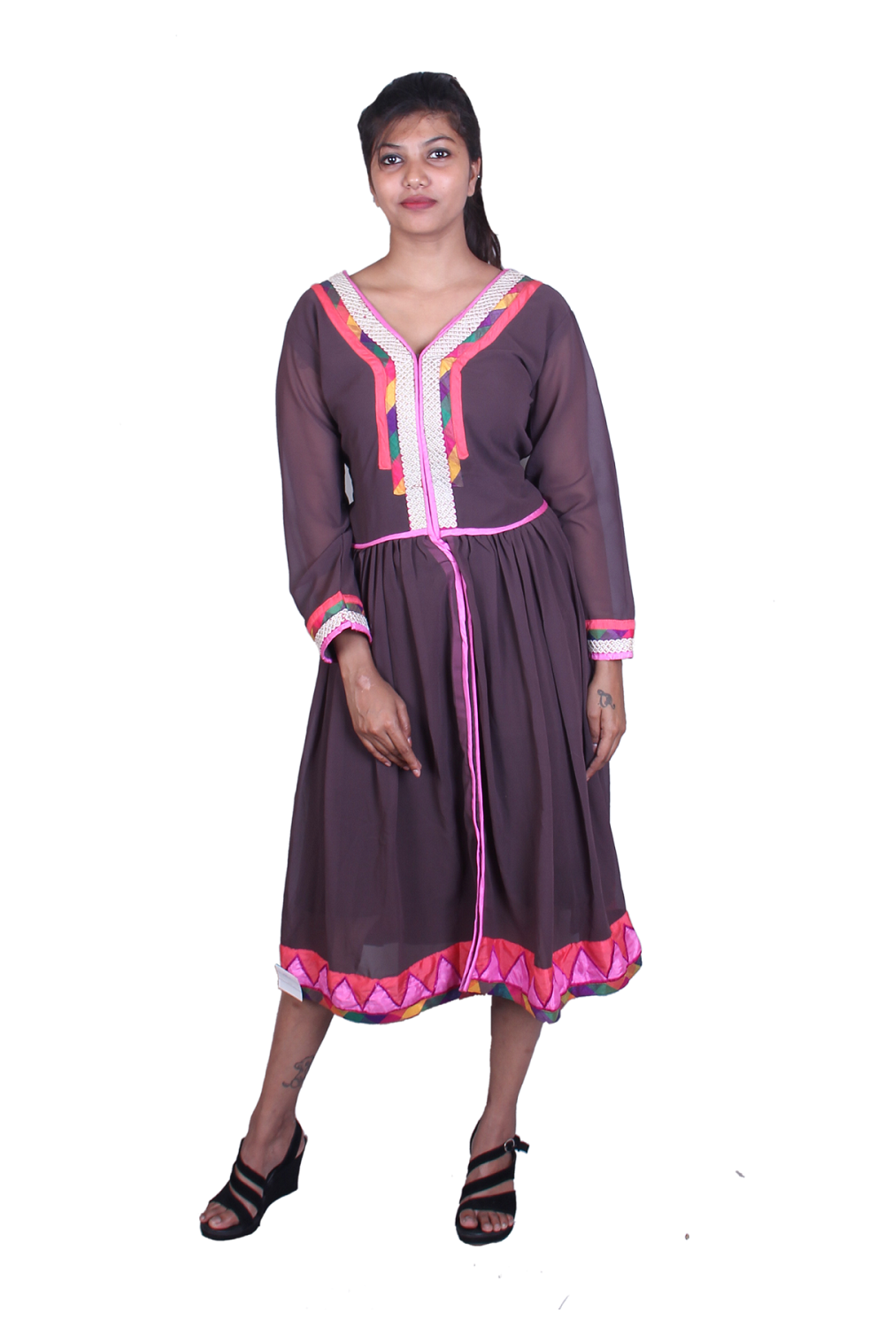 Brown multicolor work kurta
