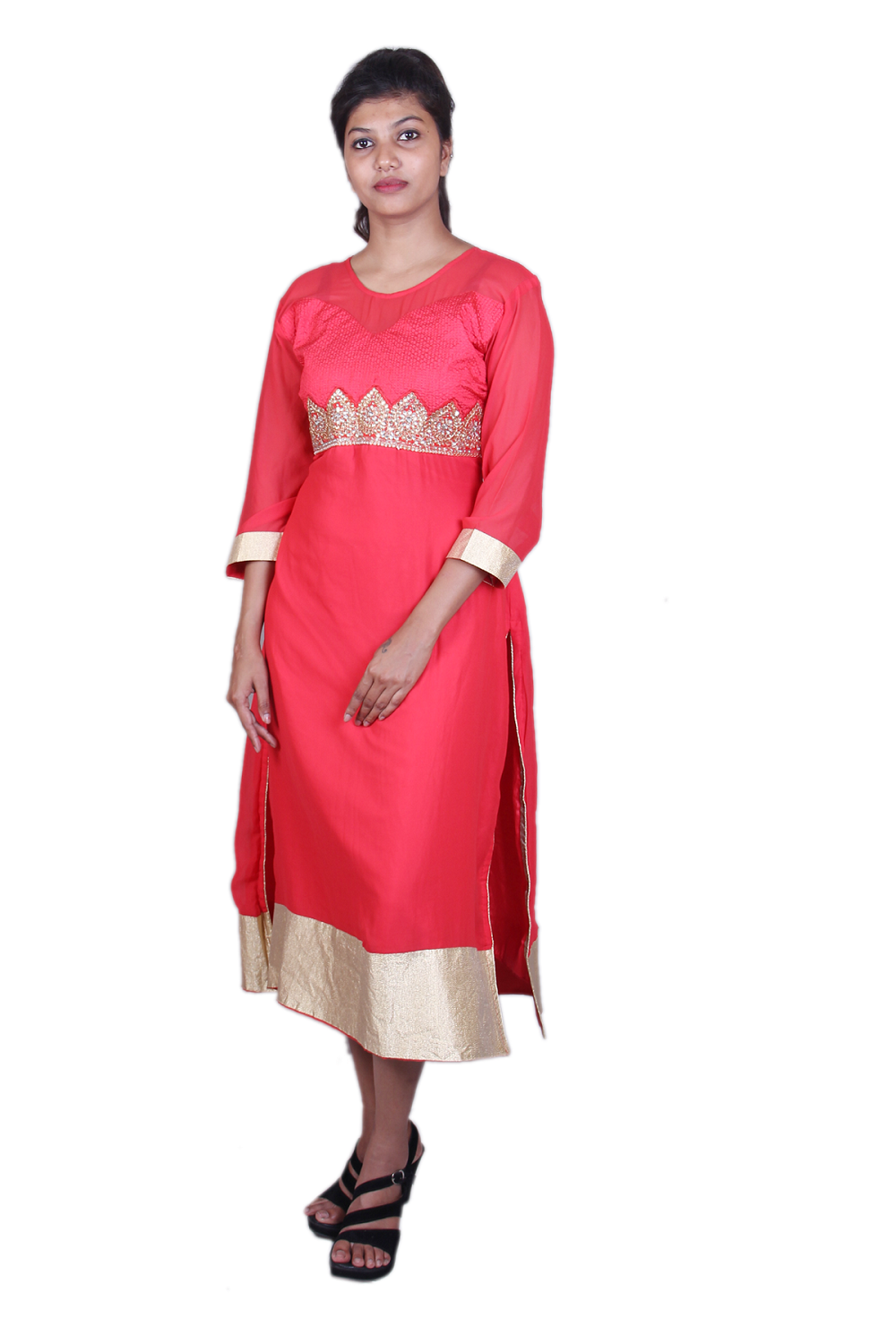 Red georgette embroidered kurta