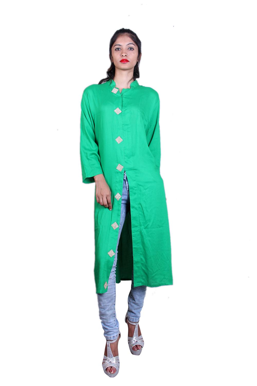 Green rayon cotton kurta