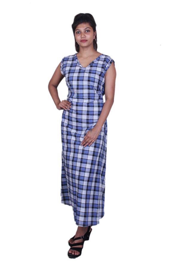Blue n black checks dress
